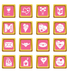 mother day icons set pink square vector image