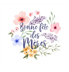 mothers day french watercolor flower card vector image