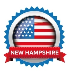 New Hampshire and USA flag badge vector