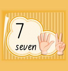 Number seven hand gesture template vector