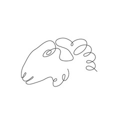 one line sheep head design silhouette logo design vector image