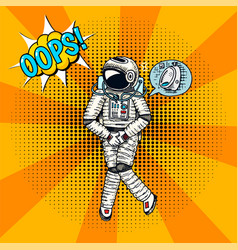 Oops pop art astronaut soaring spaceman cosmonaut vector