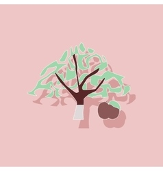 Paper sticker on stylish background plant malus vector