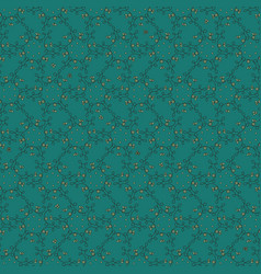 pattern with doodle botanical ornament on teal vector image