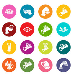 Pipeline constructor icons set colorful circles vector