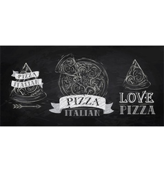 Pizza logo chalk vector
