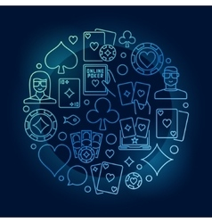 Poker circular blue vector image