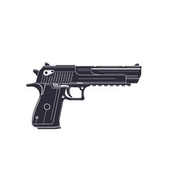 powerful pistol handgun on white vector image
