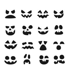 pumpkin faces halloween evil devil face scary vector image