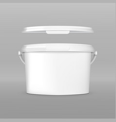 realistic white plastic bucket jar with cap vector image