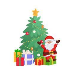 santa sitting on gift box near fir-tree vector image