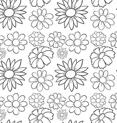 seamless flowers in draft vector image