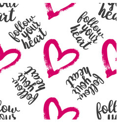seamless pattern from hearts with text vector image