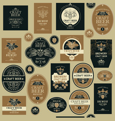 Seamless pattern with beer labels vector