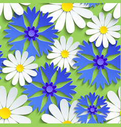 seamless pattern with cornflower and chamomile vector image