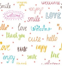 Seamless pattern with hand drawn words and hearts vector image