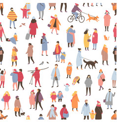 seamless pattern with tiny people dressed vector image