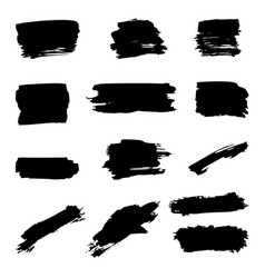 set brush strokes isolated on white vector image