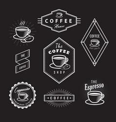 set coffee labels vintage logos blackboard retro vector image