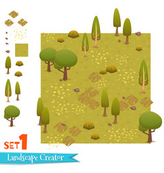 Set of autumn forest landscape vector