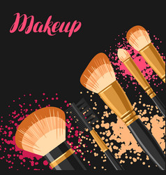 Set of brushes for make up background for catalog vector
