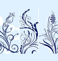 set of floral background vector image