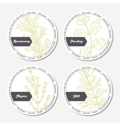 Set of stickers for package design with rosemary vector image