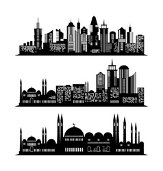 set skyscraper sketches city design vector image
