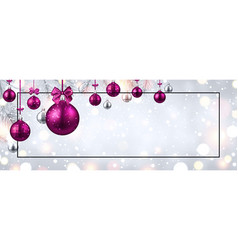 Shiny christmas and new year banner with pink vector