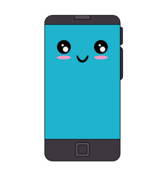 Smartphone mobile technology kawaii cartoon vector