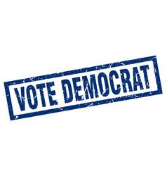 Square grunge blue vote democrat stamp vector