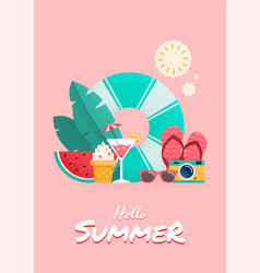 Summer time colorful flyer design vector