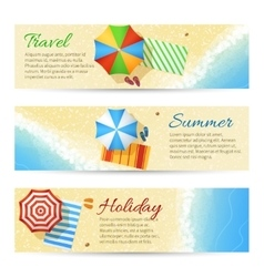 Summer travel banners with sea beach vector image