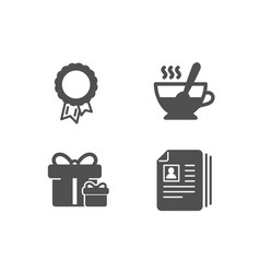 surprise package tea cup and success icons cv vector image