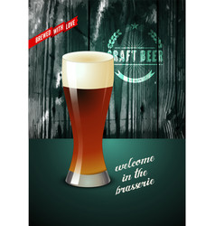 Vintage beer poster with glass beer vector