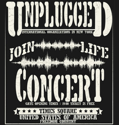 Vintage concert typographic for t-shirt tee vector