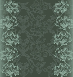 Vintage with Flowers lily border gray vector
