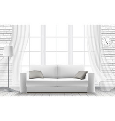 White sofa large window in a brick wall vector