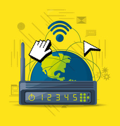 wifi router icon related with internet around the vector image