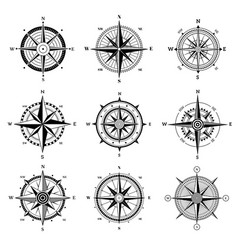 wind rose set travel adventure sailing nautical vector image