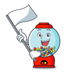 with flag gumball machine mascot cartoon vector image