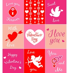 Decorative pink cards for Valentines day vector image