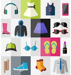 Flat icons of teenage clothes vector image vector image