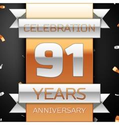 Ninety one years anniversary celebration golden vector