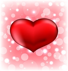 Red heart Valentine glowing background vector image vector image