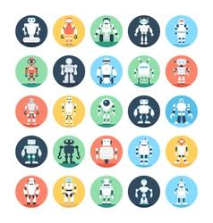 Robots robotics colored icons 3 vector