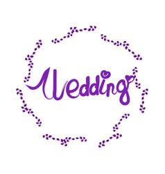 wedding lettering with elegant floral frame vector image vector image