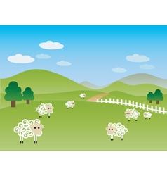 fields landscape illustration vector image vector image