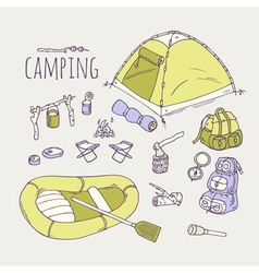Hand drawn camping items collection vector image