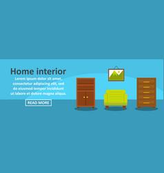 home interior banner horizontal concept vector image vector image
